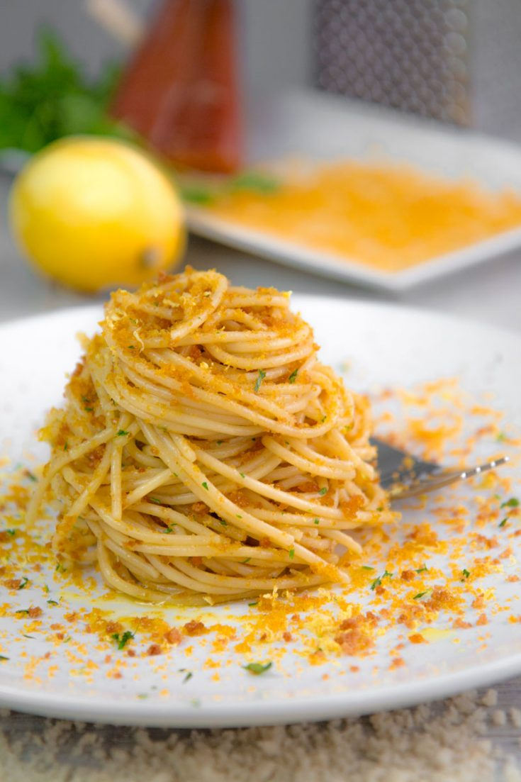 BOTTARGA SPAGHETTI with lemon zests and fried bread crumbles
