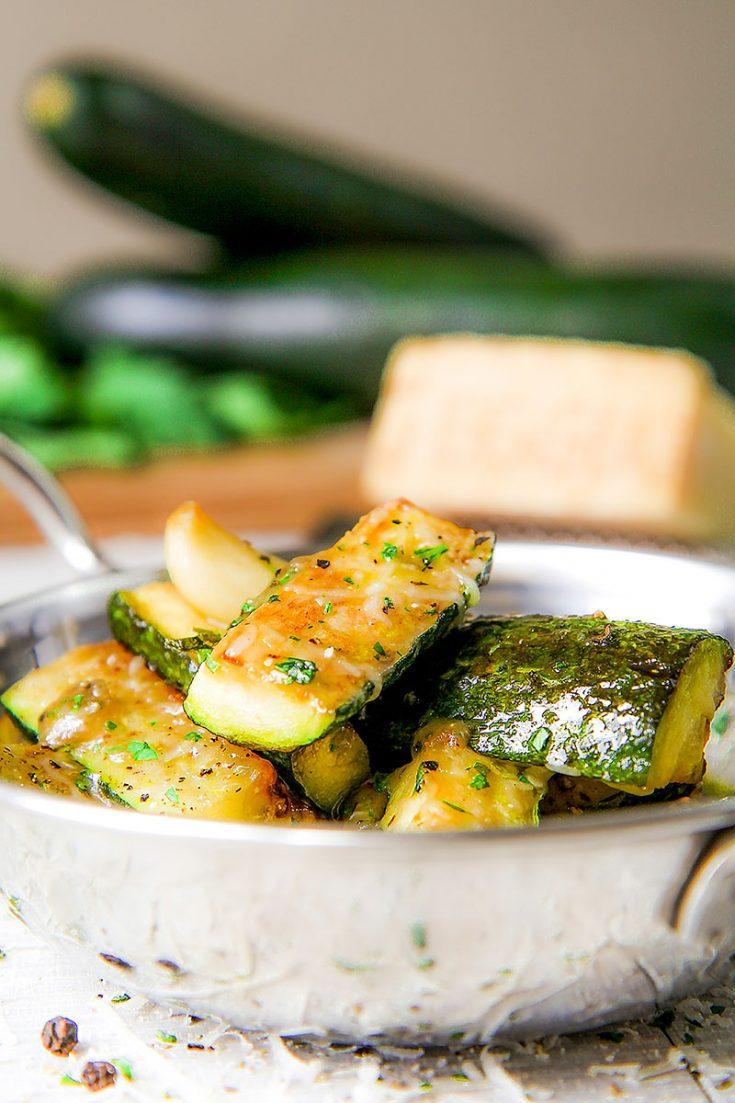 ITALIAN PAN FRIED ZUCCHINI with cheese and garlic